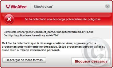 Alerta SiteAdvisor Internet Explorer
