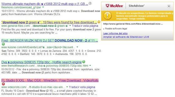 Alertas Mcafee SiteAdvisor