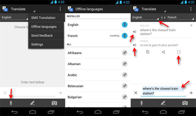 Traductor Android de Google