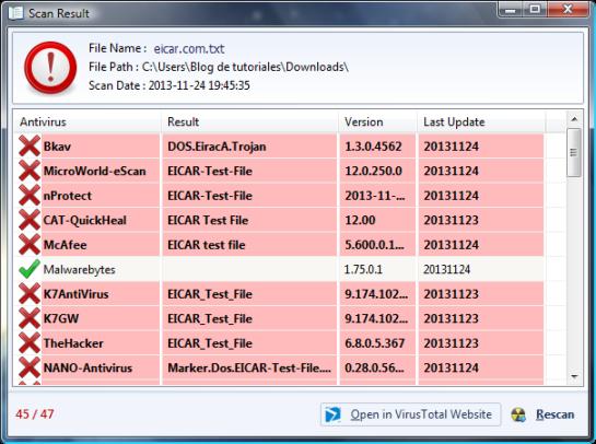 Resultados de Virus Total en Phrozen VirusTotal Uploader