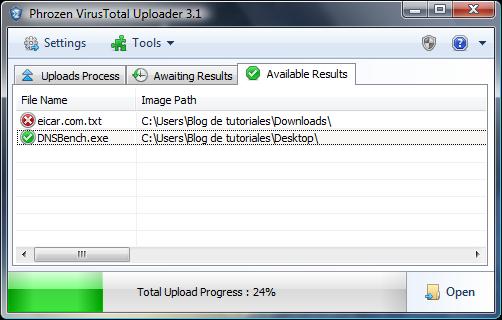 Resultados Phrozen VirusTotal Uploader