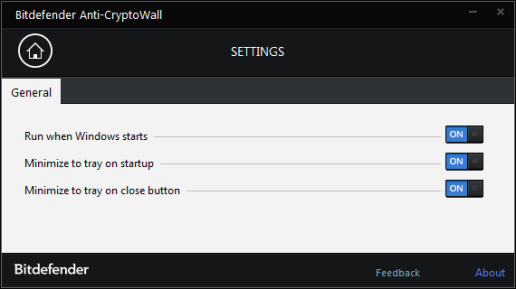 Settings, Bitdefender Anti-CryptoWall